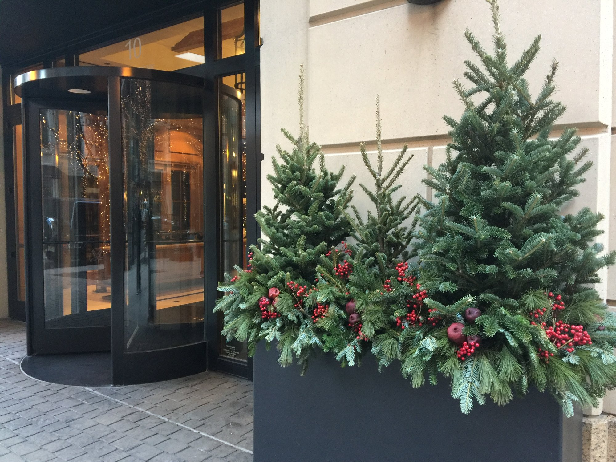 holiday decor at building entrance