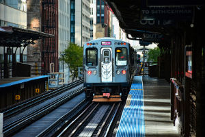 commuter train in Fulton River District